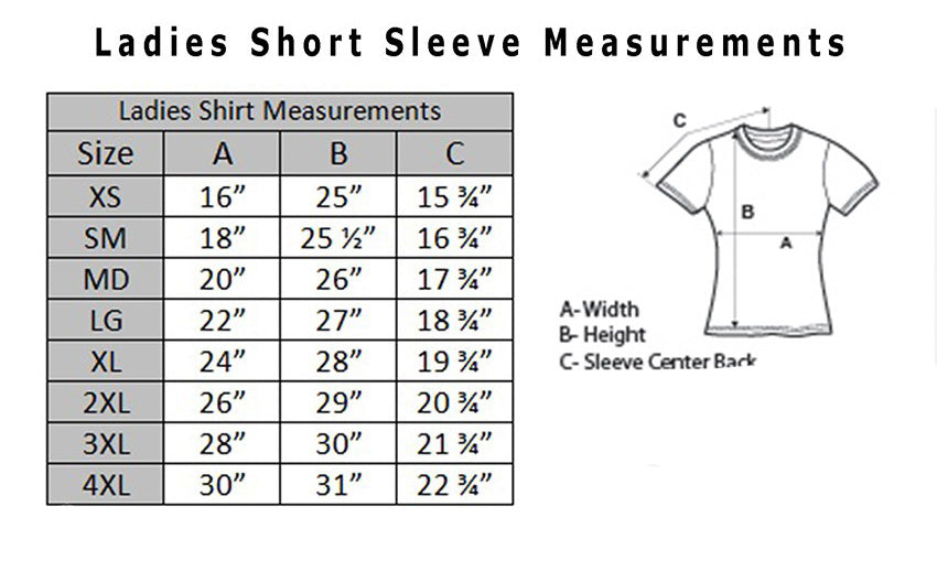 Ladies T-shirt sizing chart
