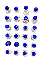 12 Pairs Earring Stud Accessories Silver Tone Solitaire Crystal Faux Rhinestone Earring - Simpal Boutique