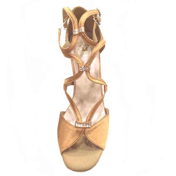 Help Me Dance - Dancing Shoe Latin/Salsa Dancing Shoes Leather Female - KVE-852094 Tan - Simpal Boutique