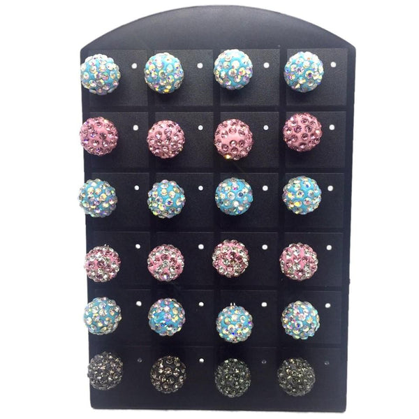 Earring Stud Accessories Silver Tone Solitaire Crystal Faux Rhinestone Earring Pack 12 Pairs - Simpal Boutique