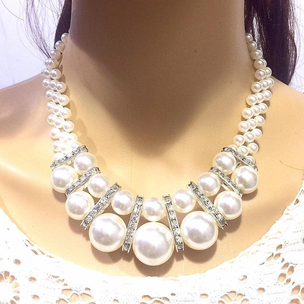 Fashion Pearl Party Necklace Set Necklace+ Earring Artificial Pearl Accessories 02 - Simpal Boutique