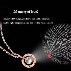 100 languages I love you Projection Pendant Necklace Romantic Love Memory Wedding Necklace - Simpal Boutique