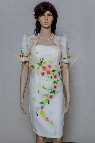 Mestiza dress with detachable bolero hand painted - Simpal Boutique