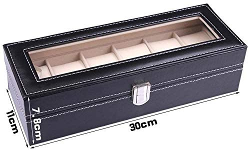 Leather 6 Compartment Watch Box Organizer Case Jewelry Box Display Box - Black - Simpal Boutique