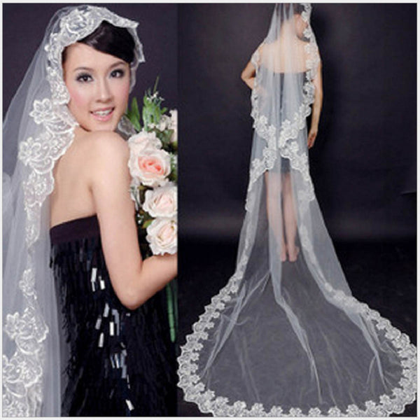 [In Store] The bride wedding veil wedding headdress accessories 3 meters long white lace veil - Simpal Boutique