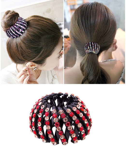 Expandable Ponytail Holder Rhinestone Bun Maker Catcher Acrylic Hair Bottom Hairpins Clip Women's Hair Styles Girl Fast Volume Twist Hair Styling... - Simpal Boutique