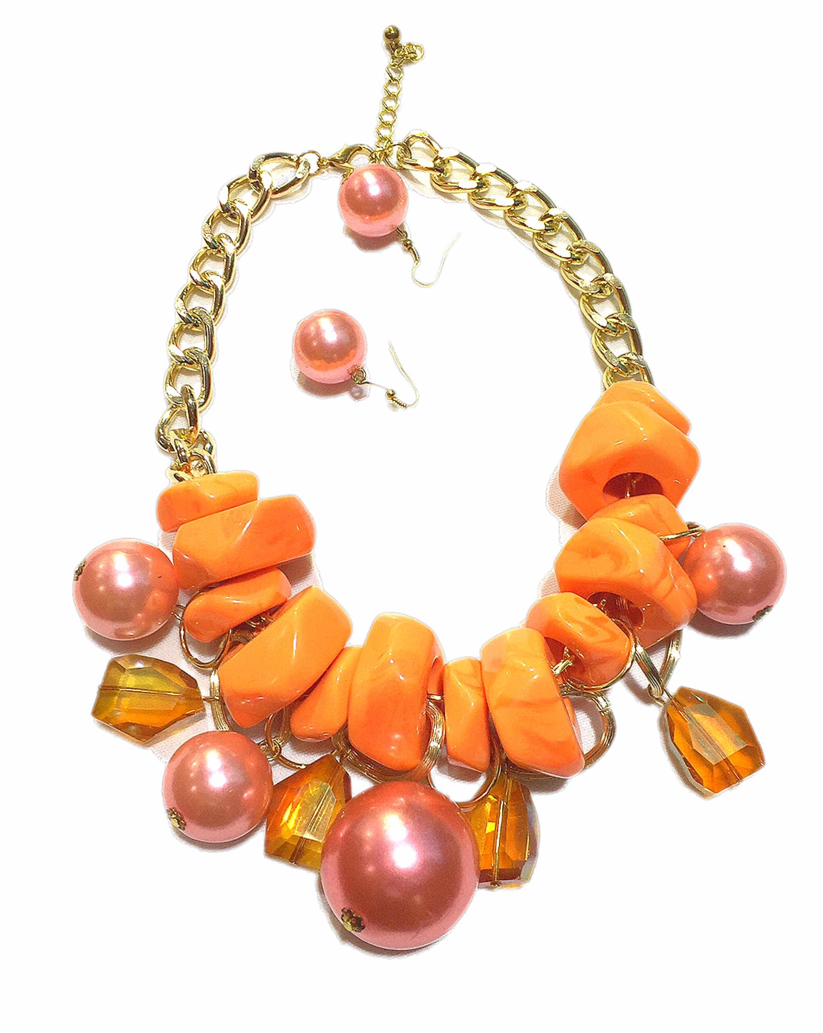 Party Necklace +Earring Set Accessories Alloy Beads  Party/Office wear Accessories Orange - Simpal Boutique