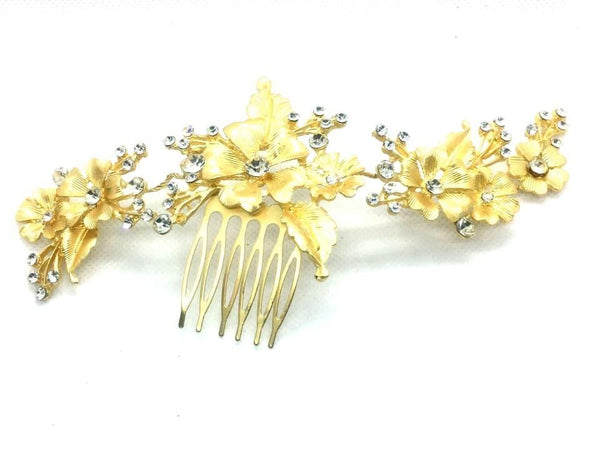 Bride Wedding Hair Comb with flower and Leaf design Crystal Hair Jewelry Headpieces Pearl Side Combs Bridal Decorative Prom Hair Accessories for Women and Girls (Gold) - Simpal Boutique