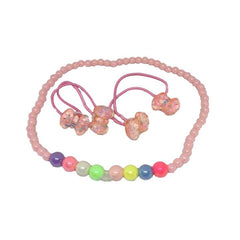 Kids sets accessories for girl, necklace with hair tie in a box - Simpal Boutique