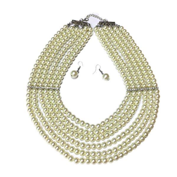 Fashion Pearl Party Necklace + Earring Thick Dress Accessories Artificial Pearl Accessories - Simpal Boutique
