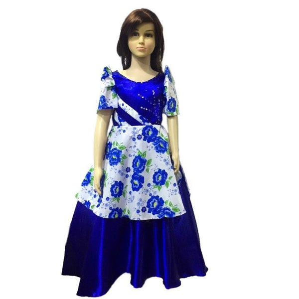 Mestiza kids Floral -Filipiniana Blue - Simpal Boutique