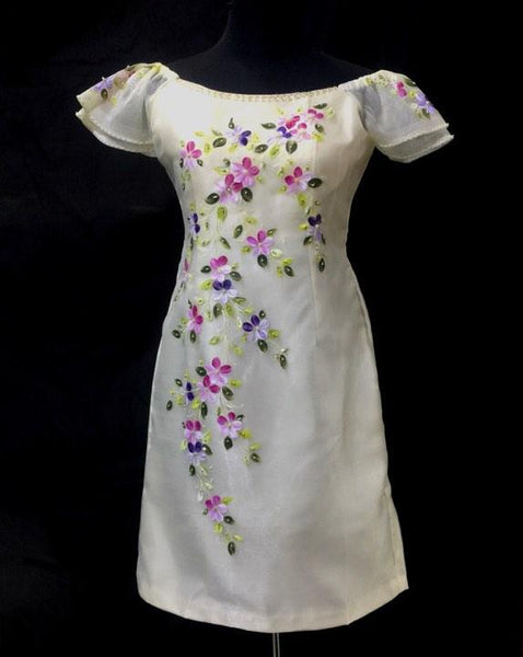 Modern Filipiniana Off Shoulder Hand painted - Simpal Boutique