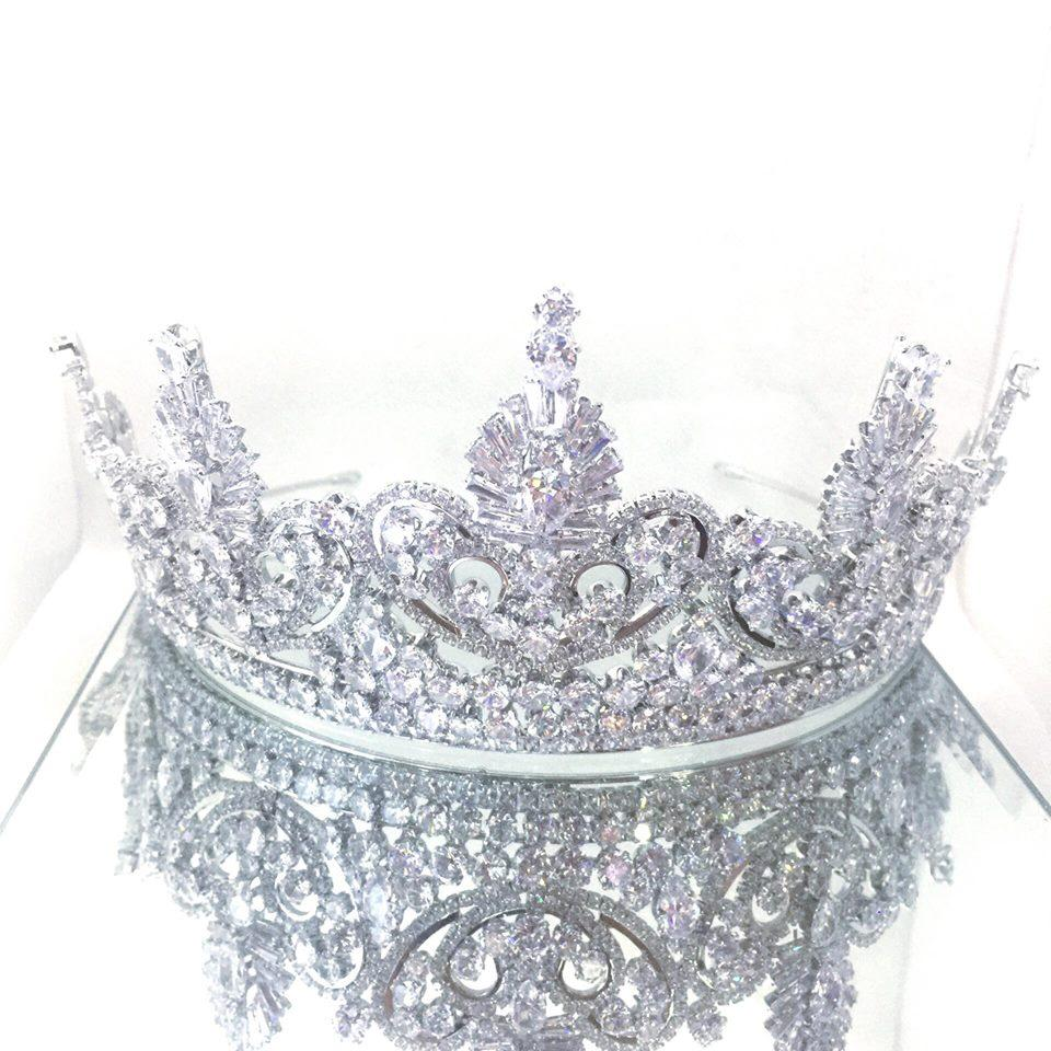 High Quality Silver Bridal Wedding Tiara Crown Headband Birthday Banquet Crystal Crown Headdress Large - Simpal Boutique