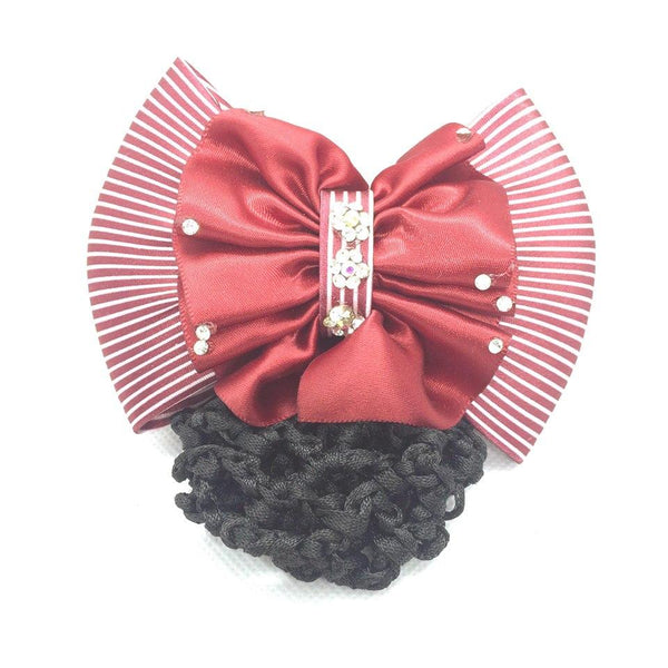 Ribbon Bowknot Net Bun Snood Hairpin Hair clip for Women - Simpal Boutique