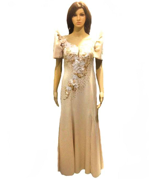 Detachable Mestiza Filipiniana Spandex Gown Cream/Green/Maroon/Blue - Simpal Boutique