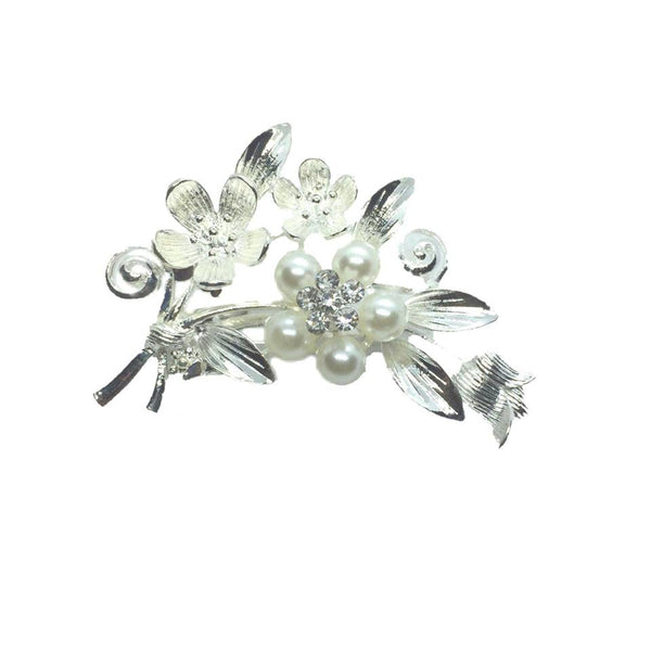 Women's Crystal Wedding Flower Leaf Bouquet Brooch, Wedding Bridal Crystal Rhinestone Bouquet Brooch Pin 02 - Simpal Boutique