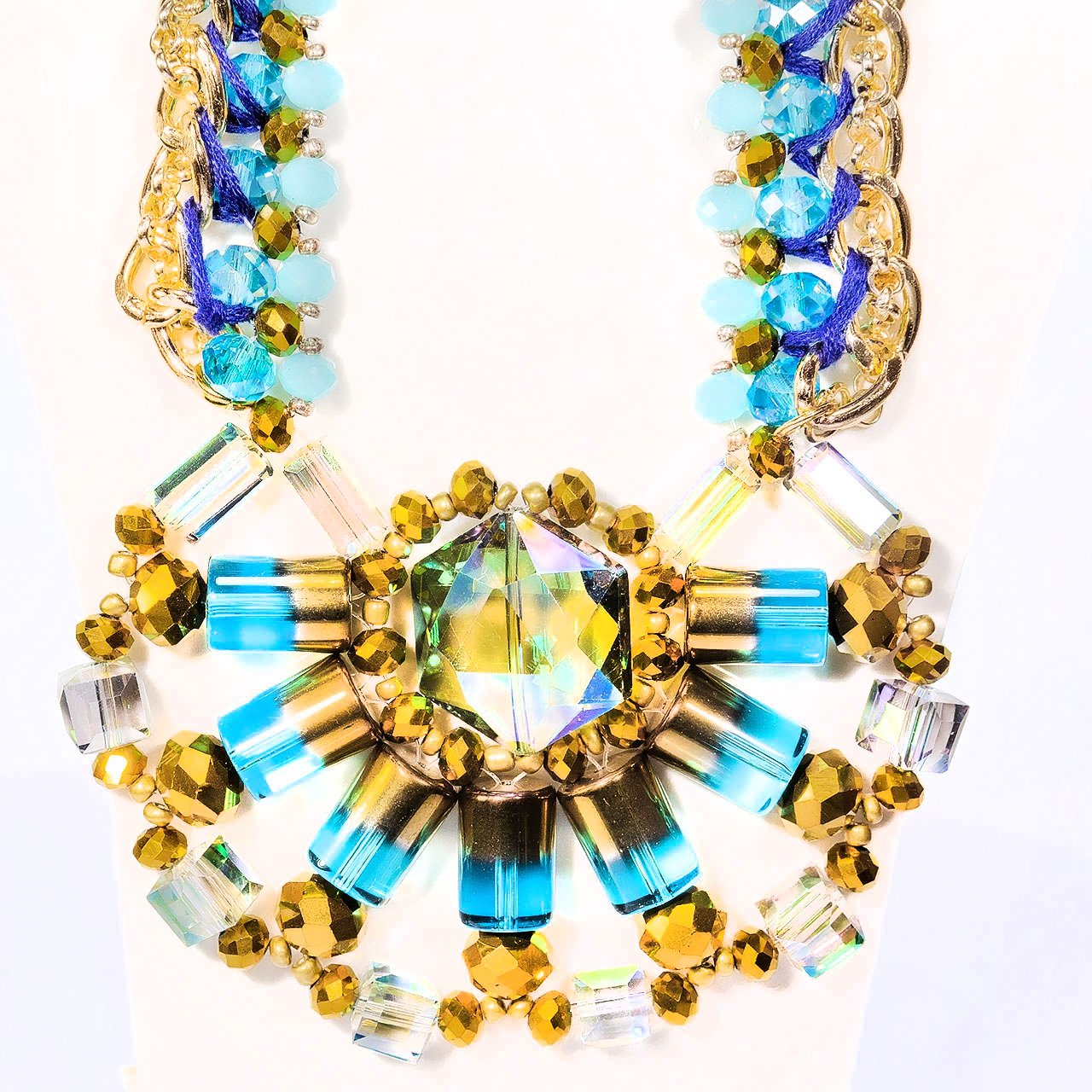 Fashion Necklace+Earring Set Accessories Alloy Beads Set Office wear Accessories Blue-Gold - Simpal Boutique