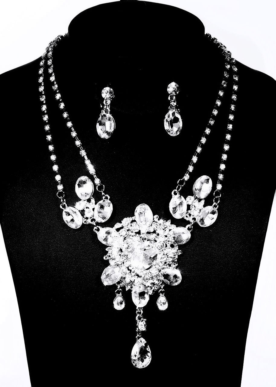 Women's Crystal Jewelry Set ( Necklace + Earrings)  Ladies Crystal Earrings Jewelry Silver  For Wedding Party Birthday Engagement Gift Daily / Necklace - Simpal Boutique