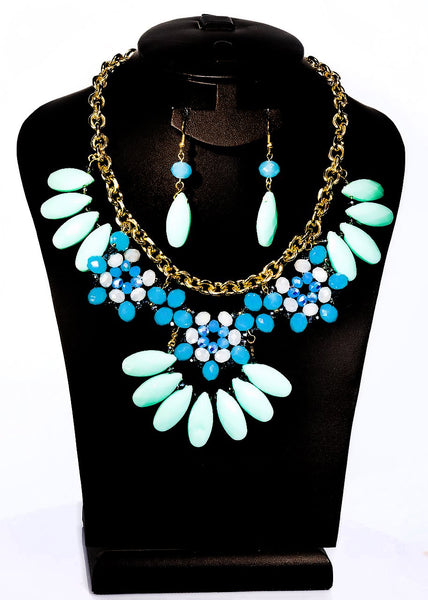 Fashion Necklace+Earring Set Accessories Alloy Beads Set Office wear Accessories Bluegreen - Simpal Boutique