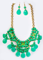 Fashion Necklace+Earring Set Accessories Alloy Beads Set Office wear Accessories Green - Simpal Boutique