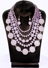 Fashion Necklace+Earring Set Accessories Alloy Beads Set Office wear Accessories Violet - Simpal Boutique