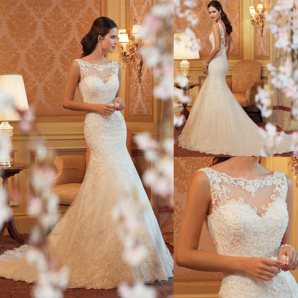 [In Store] Lace Fish Tail Wedding Dress - Simpal Boutique
