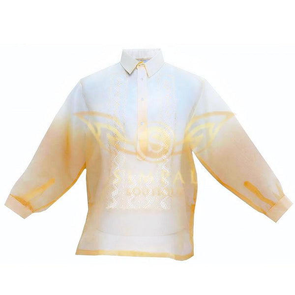 Monochromatic Colored Organza Barong Tagalog - Yellow Gold - Simpal Boutique