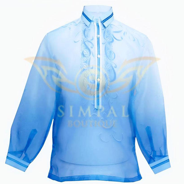 Monochromatic Colored Organza Barong Tagalog - Sky Blue - Simpal Boutique