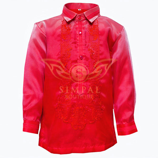 Colored Lining Barong Tagalog Kids- Monochromatic, Red -  Barong Tagalog for kids - Simpal Boutique