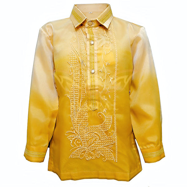 Colored Lining Barong Tagalog Kids- Monochromatic, Golden Yellow - Simpal Boutique