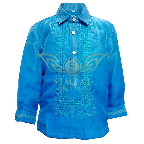 Colored Lining Barong Tagalog Kids- Monochromatic, Sky Blue -  Barong Tagalog for kids - Simpal Boutique