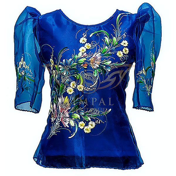 Kimona - Navy Blue Painted -  Filipinana - Adults - Simpal Boutique