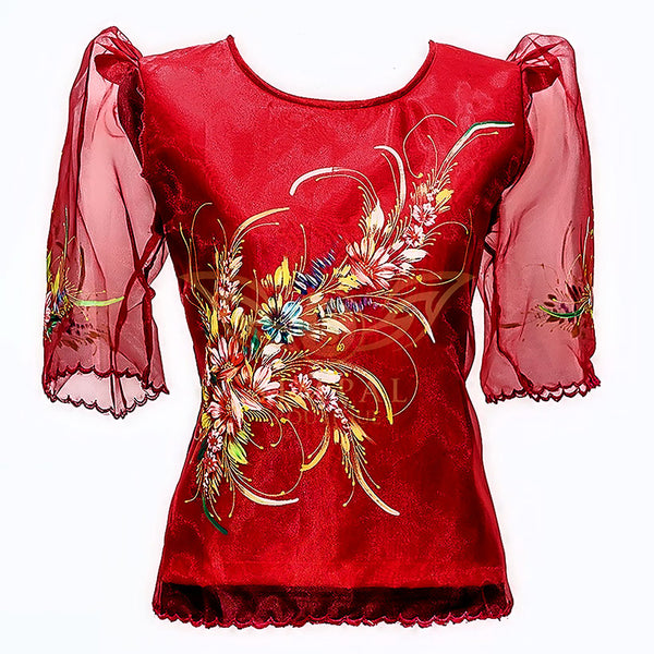 Kimona - Red Painted -  Filipinana - Adults - Simpal Boutique