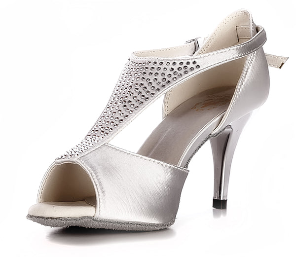 Help Me Dance - Women's Dancing Shoe Salsa/Latin Dance Shoe Leather Female - KVE-60061N- White - Simpal Boutique