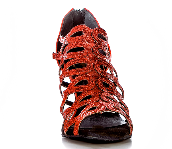 Help Me Dance Dancing Shoe Latin Salsa Dance Shoes Leather Female - KVE-SDBD RED - Simpal Boutique