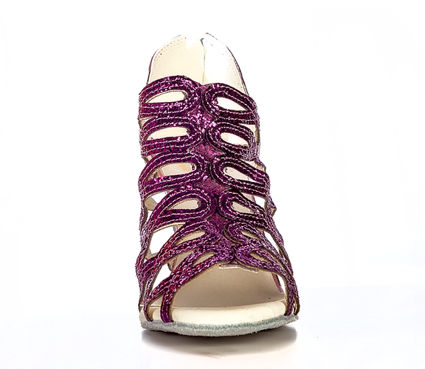 Help Me Dance Dancing Shoe Latin Salsa Dance Shoes Leather Female - KVE-SDBD Violet - Simpal Boutique
