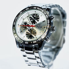 Make Me Smile Offer - Mewa Stainless Steel Men Watch With White Dial - MEWA01 - Simpal Boutique
