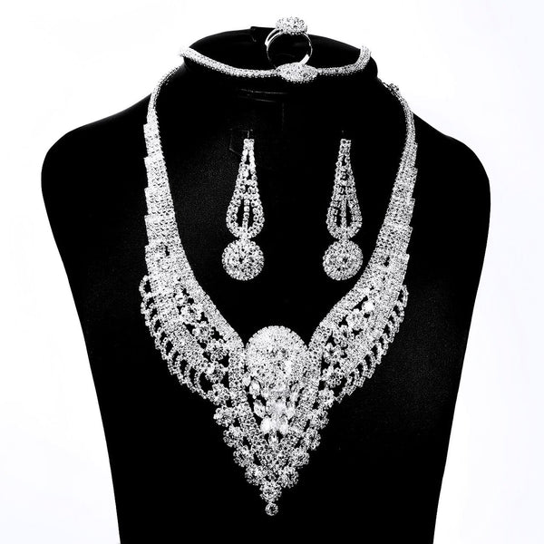 Quality Best Fashion Accessories Jewelry Set Necklace/Earring/Bracelet/Ring for Wedding/Party/Prom 01 - Simpal Boutique - accessories, accessories-women, Fashion Accessories, rhinestone accessories, sexy, Wedding Accessories, women
