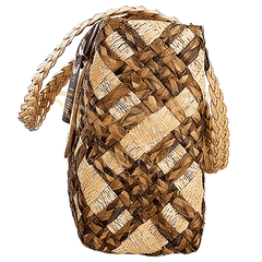 Ecofriendly hand make Abaca Belted Tote Bag - Brown - Simpal Boutique