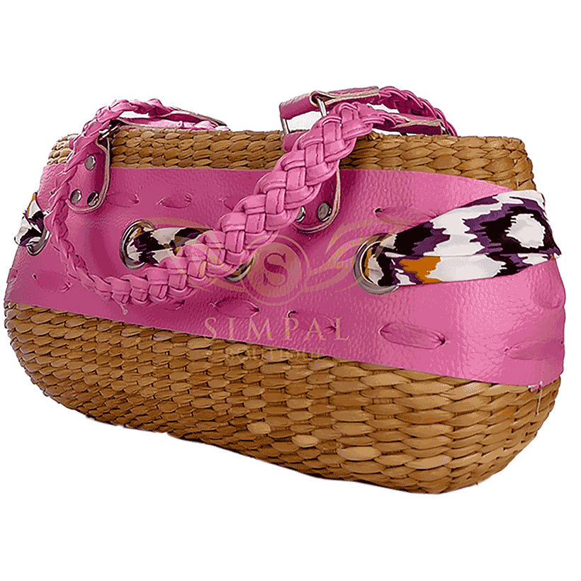 Ecofriendly hand make Abaca Yvoune Tote Bag - Pink - Simpal Boutique
