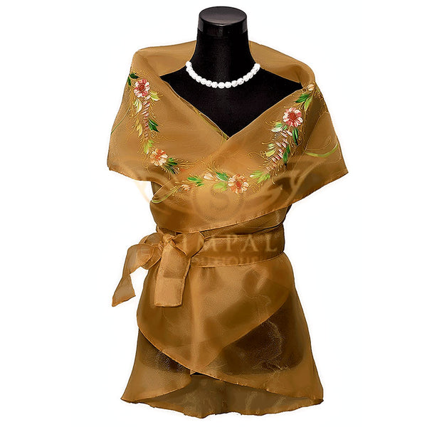 Filipiniana Wrap Around - Brown - Simpal Boutique