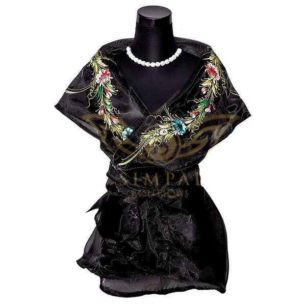 Filipiniana Wrap Around - Black -  Filipinana - Adults - Simpal Boutique