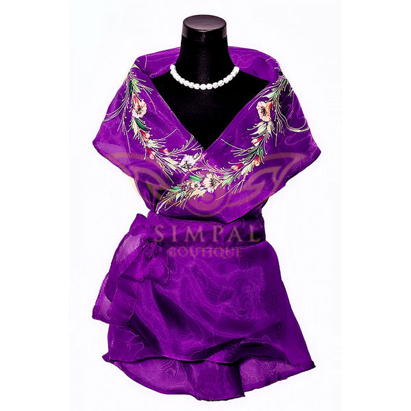 Filipiniana Wrap Around - Purple - Simpal Boutique