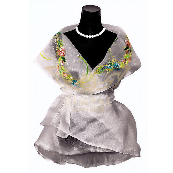 Filipiniana Wrap Around - White -  Filipinana - Adults - Simpal Boutique