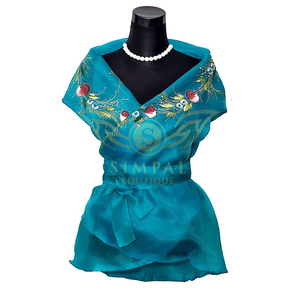 Filipiniana Wrap Around - Turquoise - Simpal Boutique