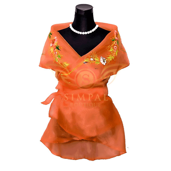 Filipiniana Wrap Around - Orange -  Filipinana - Adults - Simpal Boutique