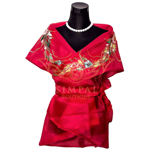 Filipiniana Wrap Around - Red - Simpal Boutique