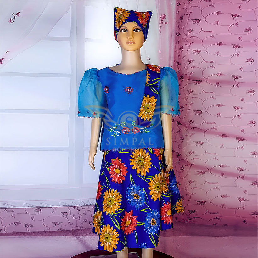 Kimona at Patadyong For Kids - Navy Blue Flower - Simpal Boutique