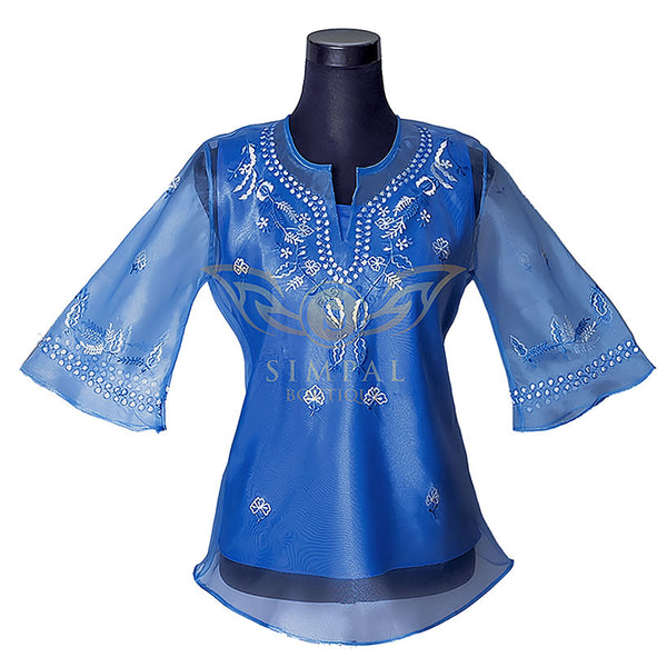 Ladies Barong - Sky Blue - Simpal Boutique
