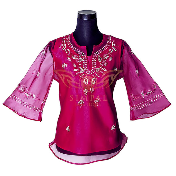 Ladies Barong - Fuchsia Pink -  Filipinana - Adults - Simpal Boutique